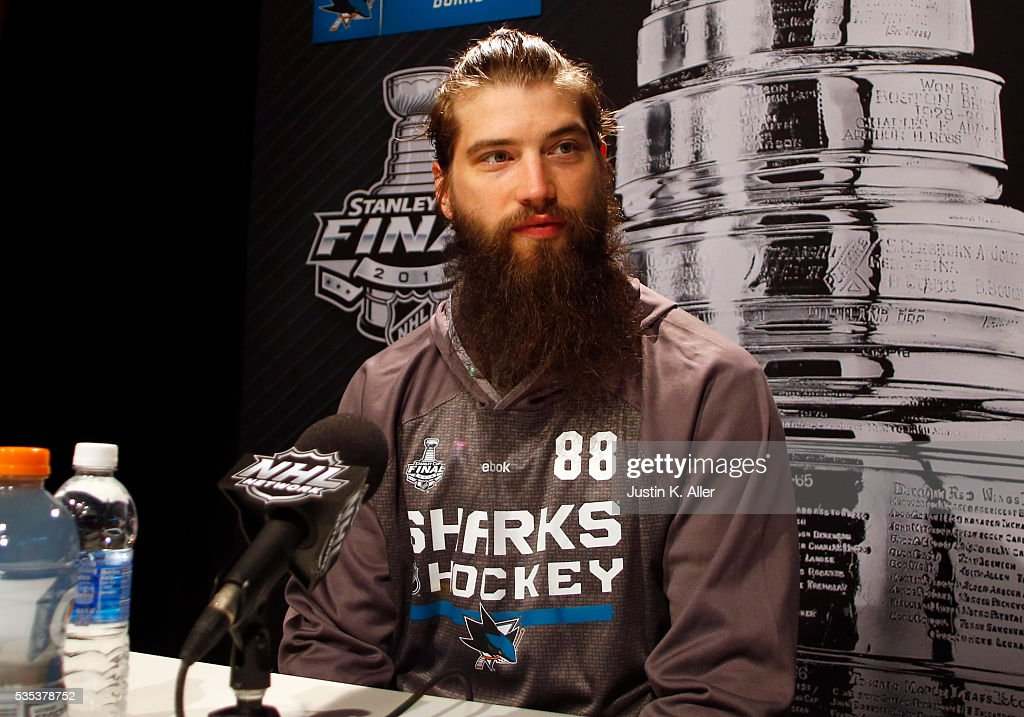 Brent Burns #88 of the San Jose Sharks addresses the media during the NHL Stanley Cup Final Media Day at Consol Energy Center on May 29, 2016 in Pittsburgh, Pennsylvania.