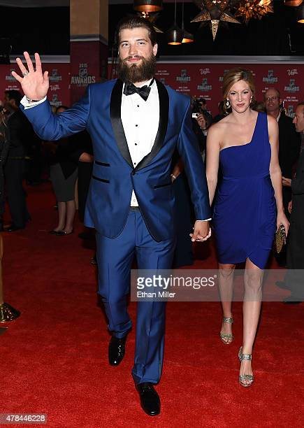 Brent Burns of the San Jose Sharks and his wife Susan Holder arrive at the 2015 NHL Awards at MGM Grand Garden Arena on June 24 2015 in Las Vegas...