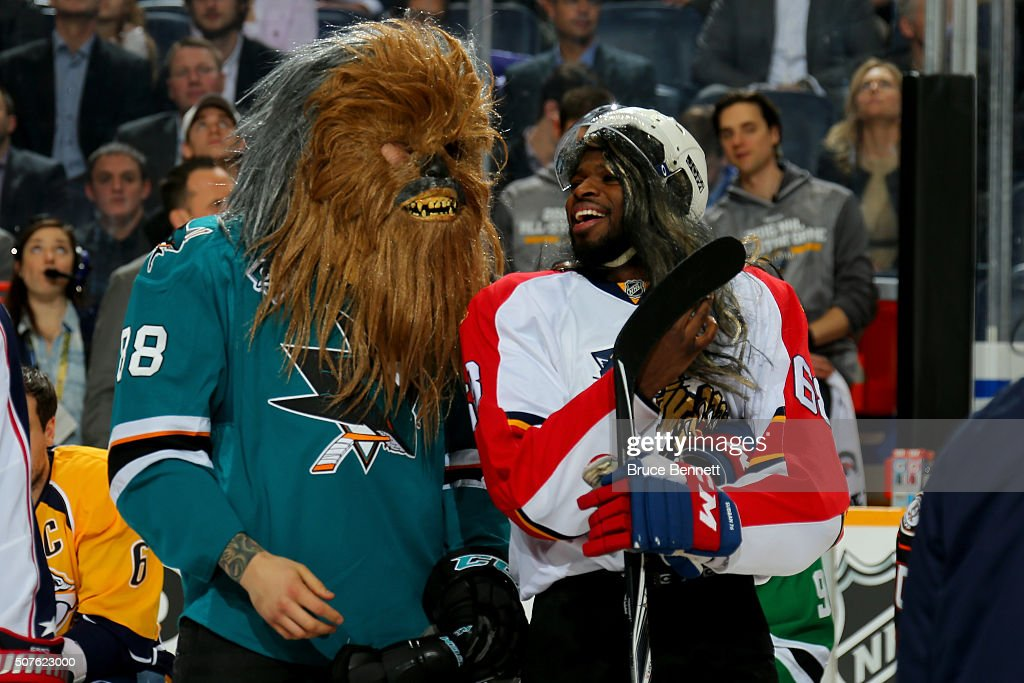 Brent Burns of the San Jose Sharks and PK Subban of the Montreal Canadiens react in the DraftKings NHL Accuracy Shooting during the 2016 Honda NHL...