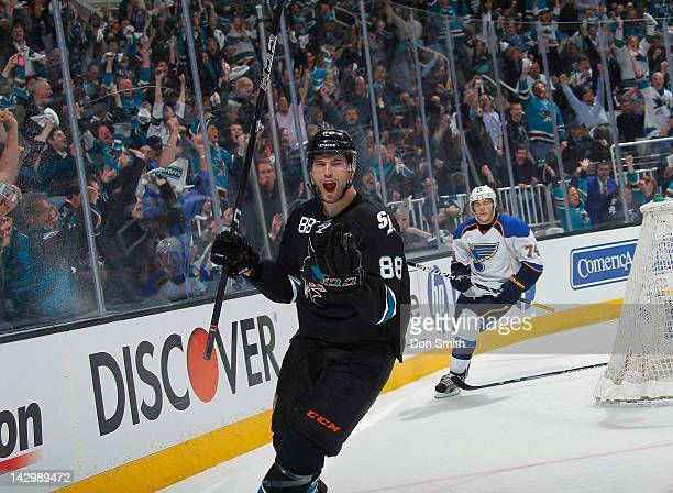 Brent Burns of the San Jose Sharks celebrates a goal against TJ Oshie of the St Louis Blues in Game Three of the Western Conference Quarterfinals...