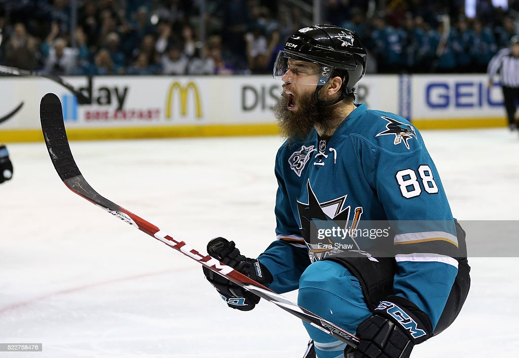 Brent Burns of the San Jose Sharks celebrates after he scored a goal in the second period against the Los Angeles Kings in Game Four of the Western...