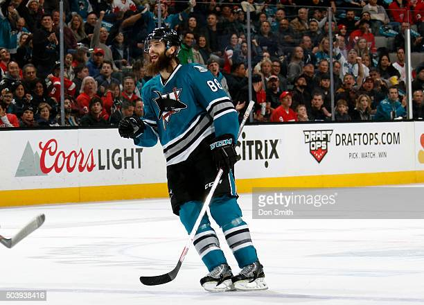 Brent Burns of the San Jose Sharks celebrates after his shot is tipped in for a goal against the Detroit Red Wings during a NHL game at the SAP...