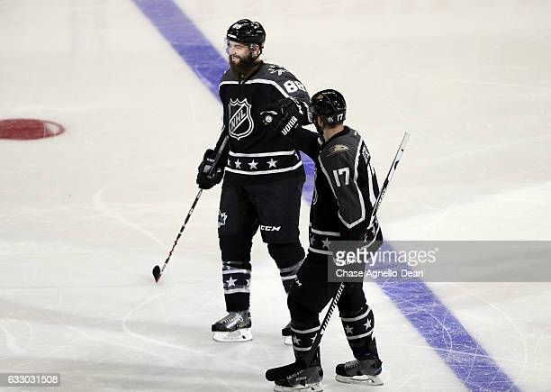 Brent Burns of the San Jose Sharks celebrates his goal with Ryan Kesler of the Anaheim Ducks during the 2017 Honda NHL AllStar Game on January 29...