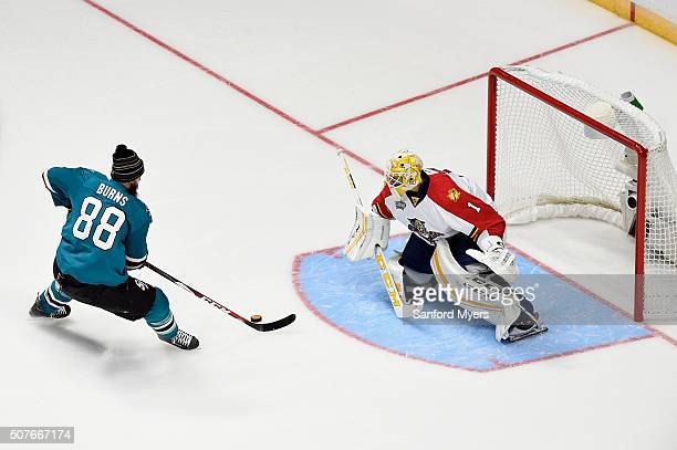 Brent Burns of the San Jose Sharks competes in the Discover NHL Shootout during the 2016 Honda NHL AllStar Skill Competition at Bridgestone Arena on...