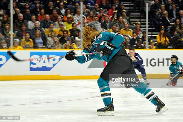 Brent Burns of the San Jose Sharks competes in the Honda NHL Breakaway Challenge during the 2016 Honda NHL AllStar Skill Competition at Bridgestone...