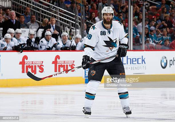 Brent Burns of the San Jose Sharks during the NHL game against the Arizona Coyotes at Gila River Arena on April 4 2015 in Glendale Arizona The...