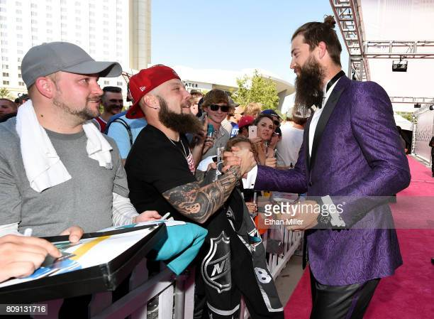Brent Burns of the San Jose Sharks greets fans as he attends the 2017 NHL Awards at TMobile Arena on June 21 2017 in Las Vegas Nevada