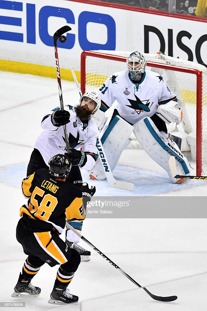 Brent Burns #88 of the San Jose Sharks handles the puck in the air during the first period against the Pittsburgh Penguins in Game Two of the 2016 NHL Stanley Cup Final at Consol Energy Center on June 1, 2016 in Pittsburgh, Pennsylvania.