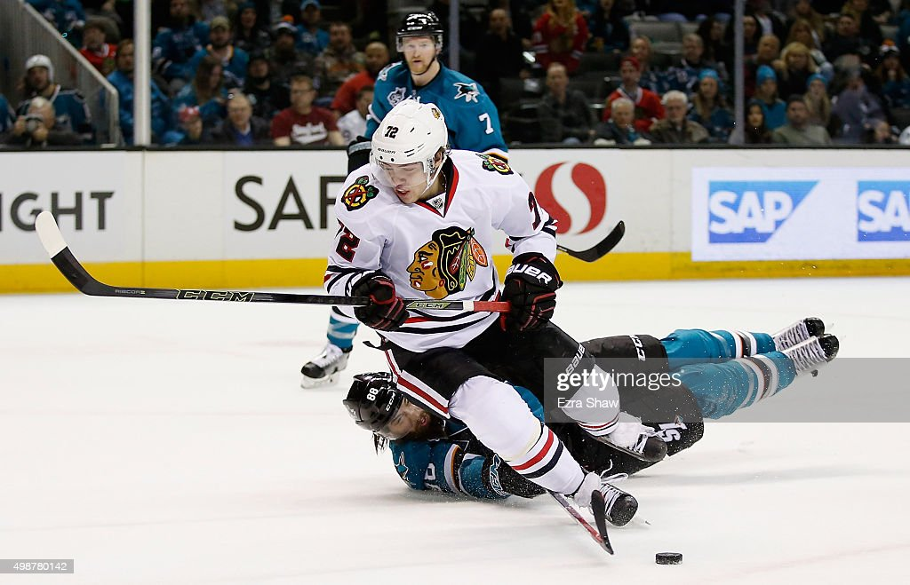 Brent Burns #88 of the San Jose Sharks is called for tripping Artemi Panarin #72 of the Chicago Blackhawks in the first period at SAP Center on November 25, 2015 in San Jose, California.