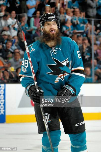 Brent Burns of the San Jose Sharks looks during a NHL game against the Vancouver Canucks at SAP Center at San Jose on April 4 2017 in San Jose...