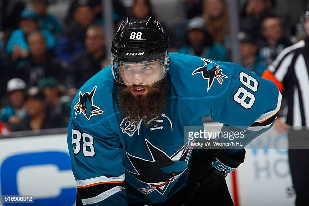 Brent Burns of the San Jose Sharks looks on during the game against the Washington Capitals at SAP Center on March 12 2016 in San Jose California