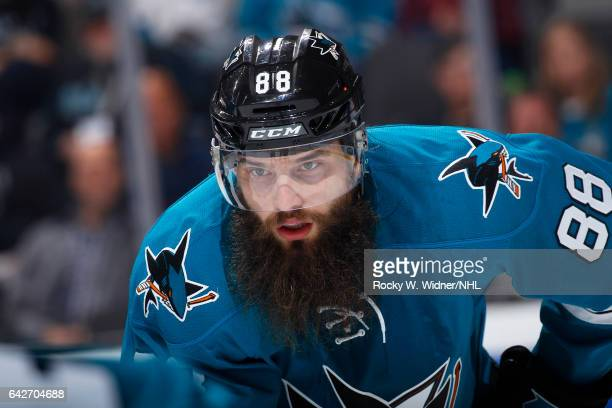 Brent Burns of the San Jose Sharks looks on during the game against the Florida Panthers at SAP Center on February 15 2017 in San Jose California