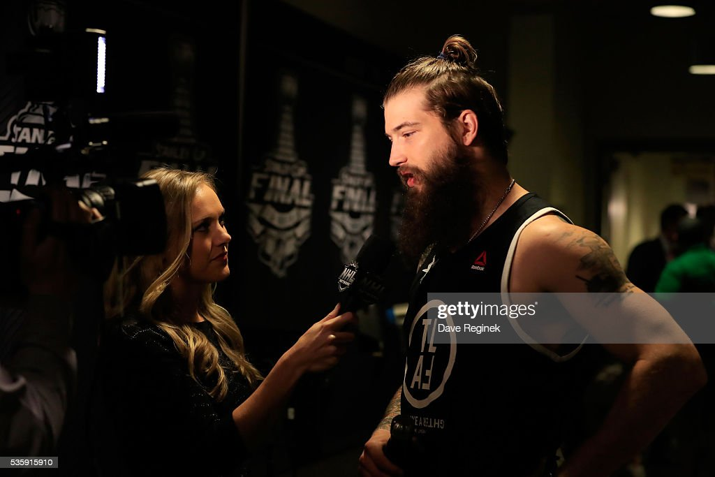 <a gi-track='captionPersonalityLinkClicked' href=/galleries/search?phrase=Brent+Burns&family=editorial&specificpeople=212883 ng-click='$event.stopPropagation()'>Brent Burns</a> #88 of the San Jose Sharks participates in an interview prior to Game One of the 2016 NHL Stanley Cup Final against the Pittsburgh Penguins at Consol Energy Center on May 30, 2016 in Pittsburgh, Pennsylvania.