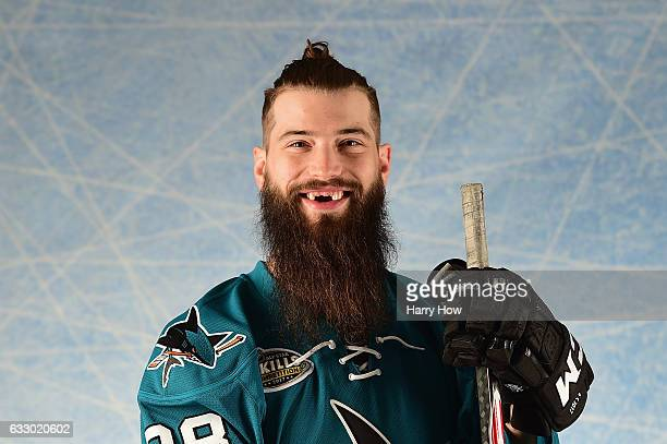 Brent Burns of the San Jose Sharks poses for a portrait prior to the 2017 Honda NHL AllStar Game at Staples Center on January 29 2017 in Los Angeles...
