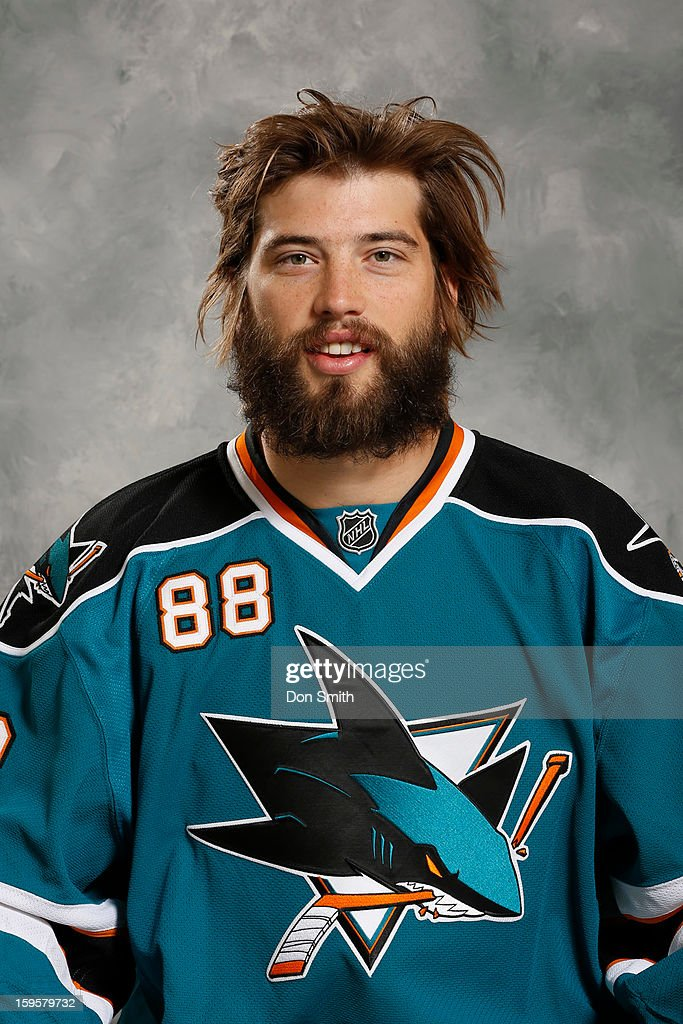 Brent Burns #88 of the San Jose Sharks poses for his official headshot for the 2012-13 season on January 13, 2013 at Sharks Ice in San Jose, California.