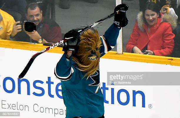 Brent Burns of the San Jose Sharks reacts during the Honda NHL Breakaway Challenge during 2016 Honda NHL AllStar Skill Competition at Bridgestone...