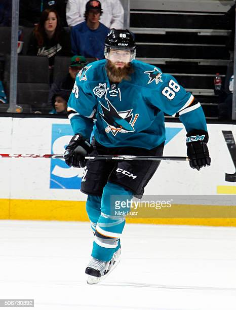 Brent Burns of the San Jose Sharks skates after the puck against the Minnesota Wild during a NHL game at the SAP Center at San Jose on January 23...