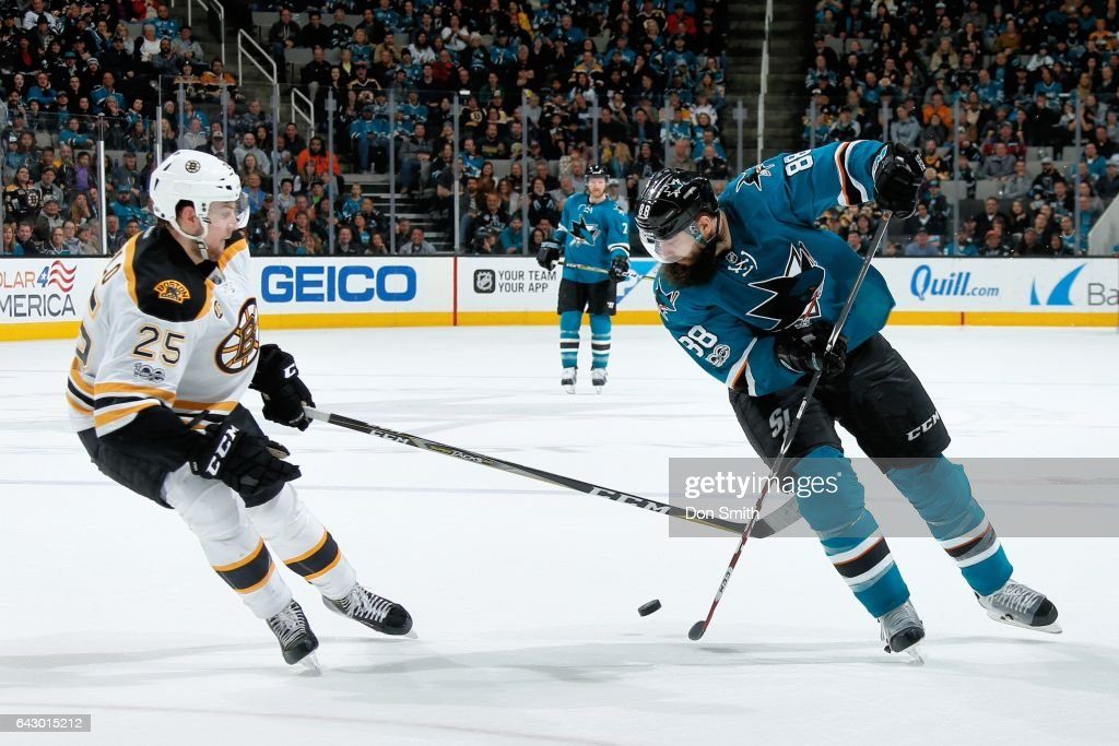 Brent Burns #88 of the San Jose Sharks skates against Brandon Carlo #25 of the Boston Bruins during a NHL game at SAP Center at San Jose on February 19, 2017 in San Jose, California.