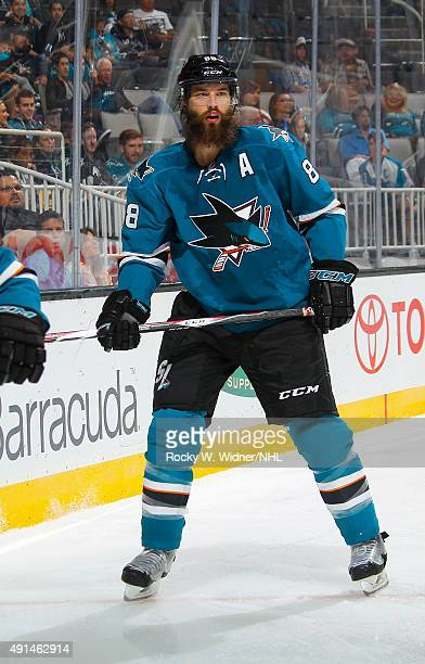 Brent Burns of the San Jose Sharks skates against the Anaheim Ducks at SAP Center on September 26 2015 in San Jose California