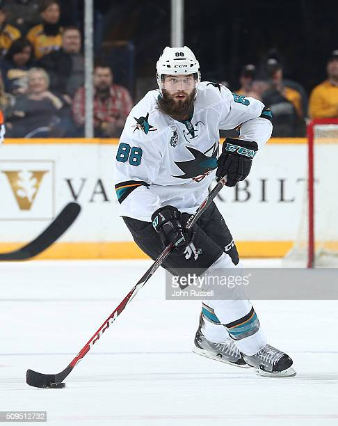 Brent Burns of the San Jose Sharks skates against the Nashville Predators during an NHL game at Bridgestone Arena on February 6 2016 in Nashville...