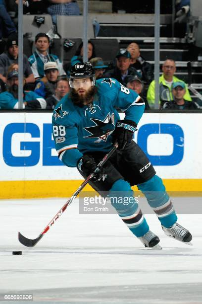Brent Burns of the San Jose Sharks skates during a NHL game against the Vancouver Canucks at SAP Center at San Jose on April 4 2017 in San Jose...