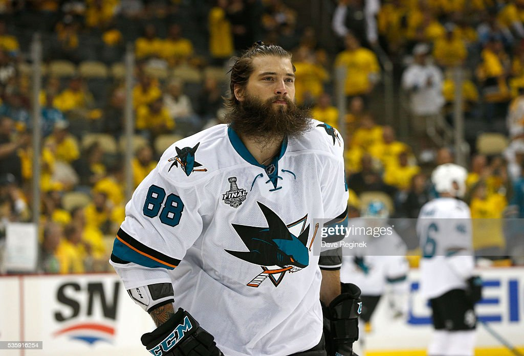 <a gi-track='captionPersonalityLinkClicked' href=/galleries/search?phrase=Brent+Burns&family=editorial&specificpeople=212883 ng-click='$event.stopPropagation()'>Brent Burns</a> #88 of the San Jose Sharks skates during warm-up prior to Game One of the 2016 NHL Stanley Cup Final against the Pittsburgh Penguins at Consol Energy Center on May 30, 2016 in Pittsburgh, Pennsylvania.