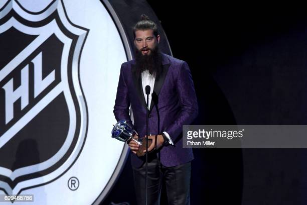 Brent Burns of the San Jose Sharks speaks after winning the James Norris Memorial Trophy during the 2017 NHL Awards and Expansion Draft at TMobile...