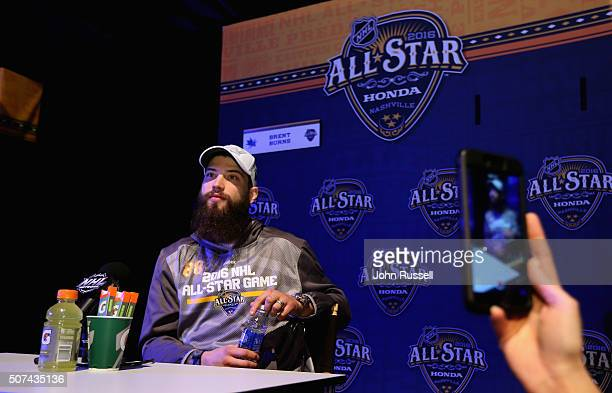 Brent Burns of the San Jose Sharks speaks during Media Day for the 2016 NHL AllStar Game at Bridgestone Arena on January 29 2016 in Nashville...