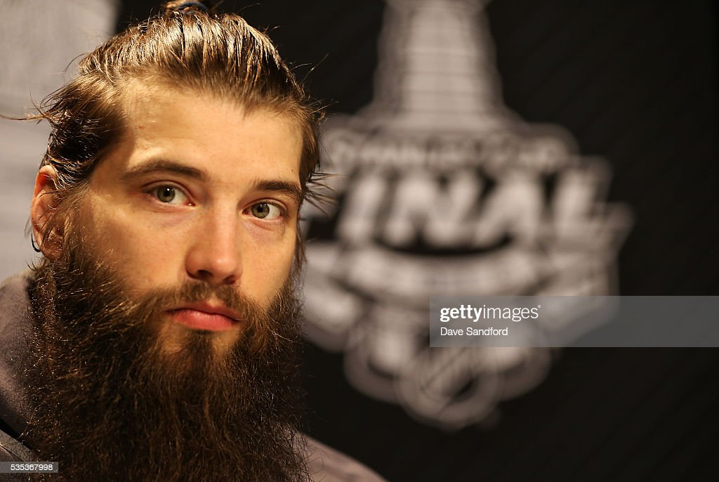 Brent Burns #88 of the San Jose Sharks speaks during Media Day prior to the 2016 NHL Stanley Cup Final between the Pittsburgh Penguins and San Jose Sharks May 29, 2016 at Consol Energy Center in Pittsburgh, Pennsylvania, United States.