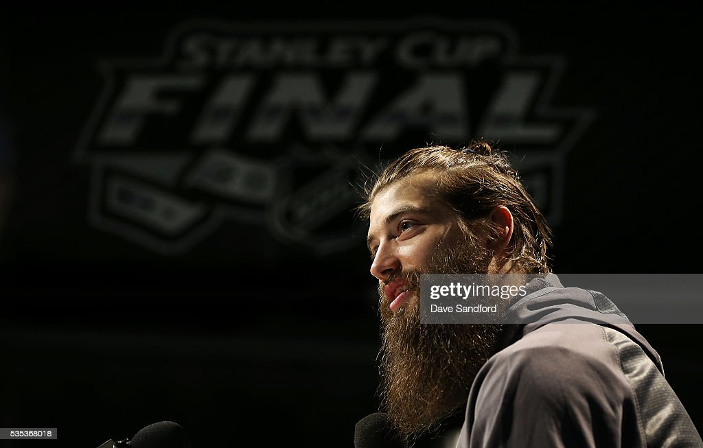 <a gi-track='captionPersonalityLinkClicked' href=/galleries/search?phrase=Brent+Burns&family=editorial&specificpeople=212883 ng-click='$event.stopPropagation()'>Brent Burns</a> #88 of the San Jose Sharks speaks during Media Day prior to the 2016 NHL Stanley Cup Final between the Pittsburgh Penguins and San Jose Sharks May 29, 2016 at Consol Energy Center in Pittsburgh, Pennsylvania, United States.