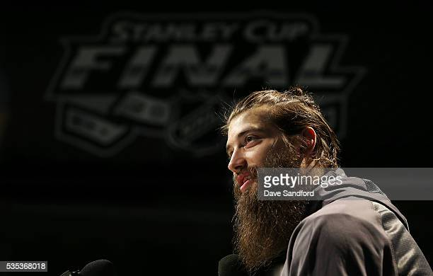 Brent Burns of the San Jose Sharks speaks during Media Day prior to the 2016 NHL Stanley Cup Final between the Pittsburgh Penguins and San Jose...