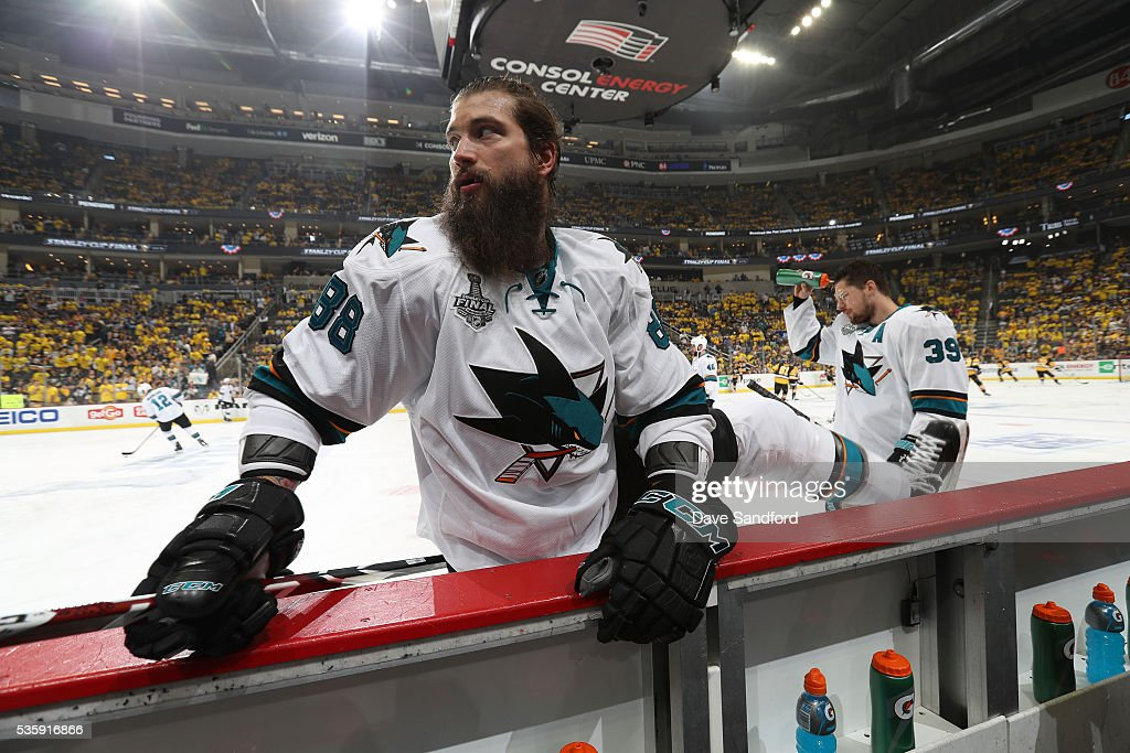 <a gi-track='captionPersonalityLinkClicked' href=/galleries/search?phrase=Brent+Burns&family=editorial&specificpeople=212883 ng-click='$event.stopPropagation()'>Brent Burns</a> #88 of the San Jose Sharks stretches during warm-up prior to Game One of the 2016 NHL Stanley Cup Final against the Pittsburgh Penguins at Consol Energy Center on May 30, 2016 in Pittsburgh, Pennsylvania.