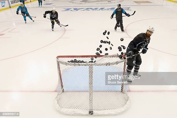 Brent Burns of the San Jose Sharks takes part in the game day skate prior to Game Two of the 2016 NHL Stanley Cup Final against the Pittsburgh...