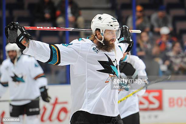 Brent Burns of the San Jose Sharks warms up prior to the game against the Edmonton Oilers on December 2015 at Rexall Place in Edmonton Alberta Canada