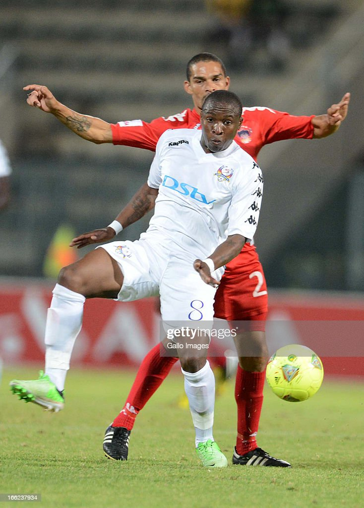 Brent Carelse and George Maluleka during the Absa Premiership match between SuperSport United and Chippa United from Lucas Moripe Stadium on April 10, 2013 in Pretoria, South Africa Photo by Lefty Shivambu/Gallo Images