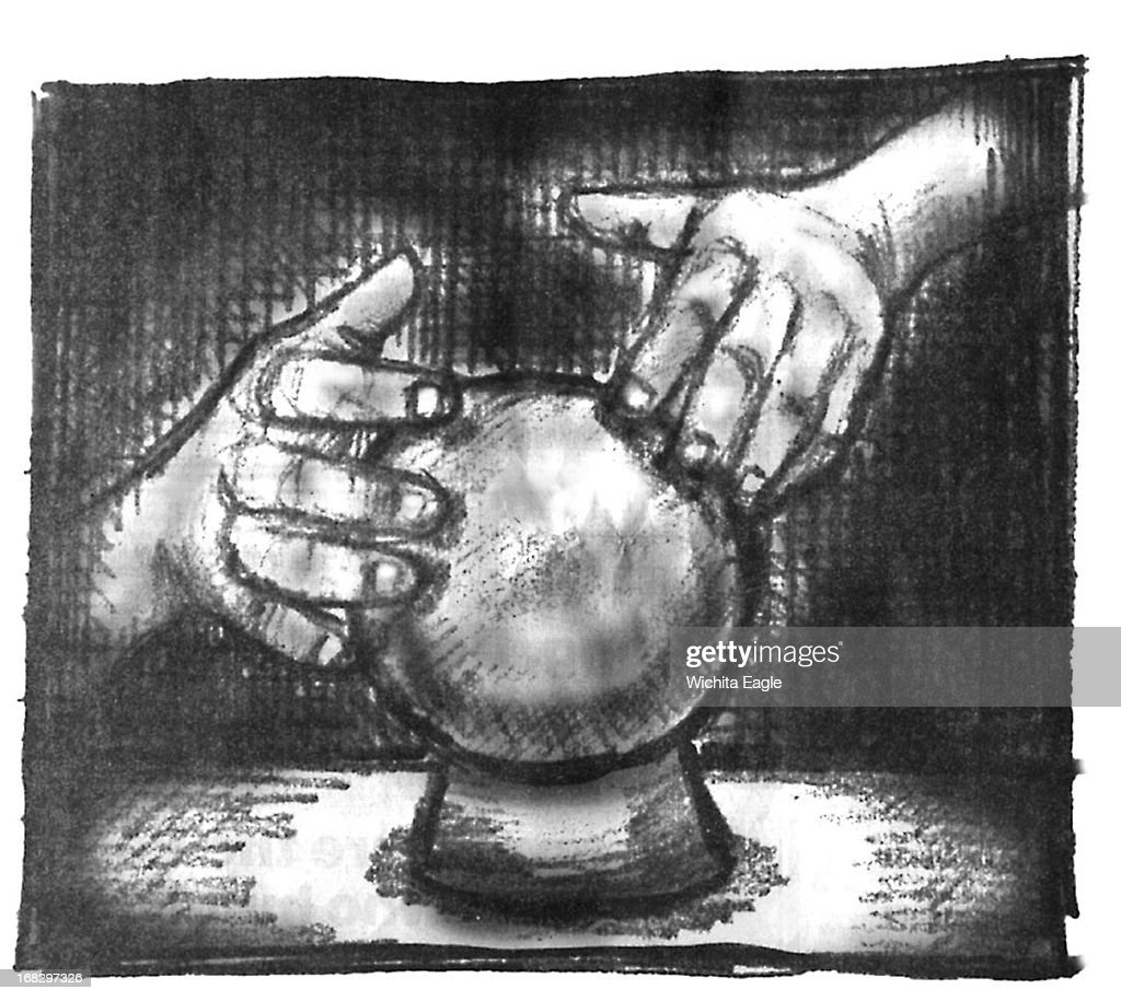 Brent Castillo BW illustration of hands touching a crystal ball