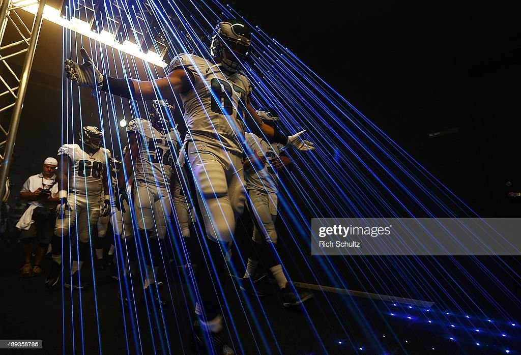 Brent Celek #87 of the Philadelphia Eagles leads his team out of the tunnel before a football game against the Dallas Cowboys at Lincoln Financial Field on September 20, 2015 in Philadelphia, Pennsylvania.