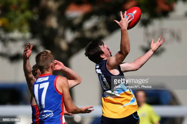 Brent Daniels of the Pioneers marks the ball during the round three TAC Cup match between XXXX and XXXX at Queen Elizabeth Oval on April 8 2017 in...