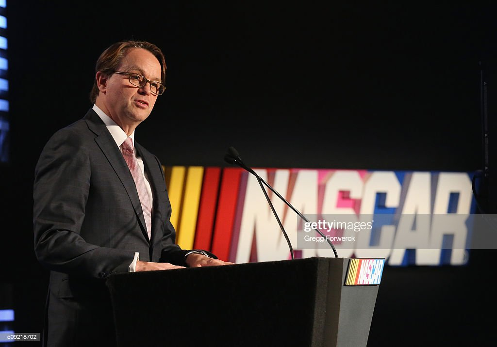 Brent Dewar NASCAR Chief Operating Officer addresses the media at Charlotte Convention Center on February 9, 2016 in Charlotte, North Carolina.