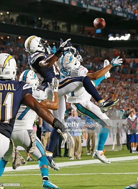 Brent Grimes of the Miami Dolphins breaks up the pass into the end zone to Vincent Brown of the San Diego Chargers on the final play of the game on...