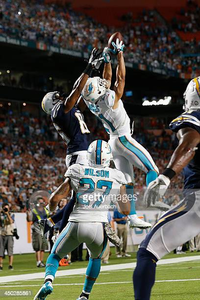 Brent Grimes of the Miami Dolphins breaks up the pass to Vincent Brown of the San Diego Chargers on the final play of the game in the end zone on...