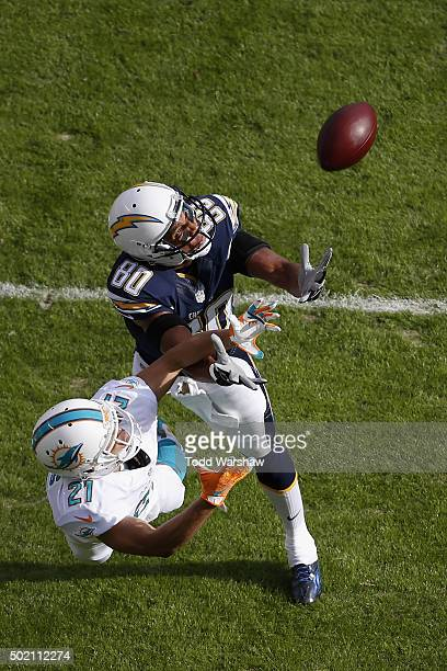 Brent Grimes of the Miami Dolphins defends Malcom Floyd of the San Diego Chargers to force an incomplete pass at Qualcomm Stadium on December 20 2015...