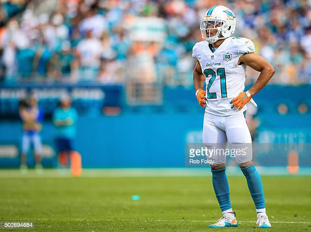 Brent Grimes of the Miami Dolphins looks on during the game against the Indianapolis Colts at Sun Life Stadium on December 27 2015 in Miami Gardens...