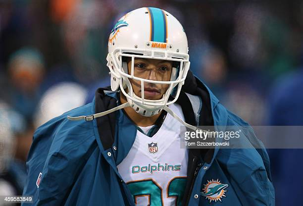 Brent Grimes of the Miami Dolphins on the sideline during NFL game action against the Buffalo Bills at Ralph Wilson Stadium on December 22 2013 in...