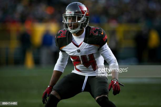 Brent Grimes of the Tampa Bay Buccaneers lines up for a play in the third quarter against the Green Bay Packers at Lambeau Field on December 3 2017...