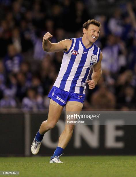 Brent Harvey of the Kangaroos celebrates a goal during the round 11 AFL match between the North Melbourne Kangaroos and the Adelaide Crows at Etihad...