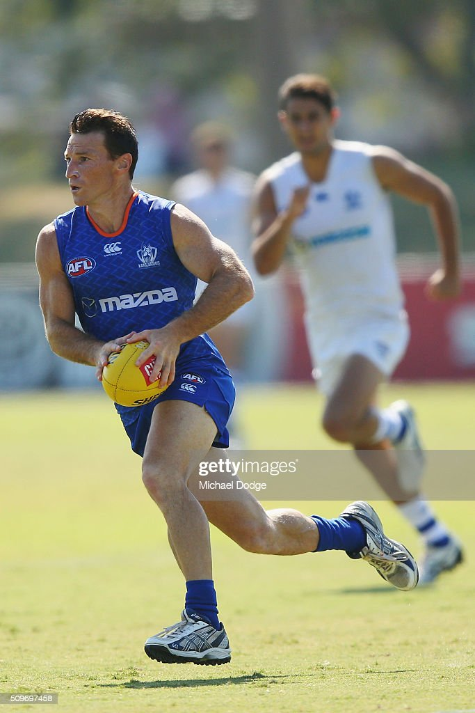 Brent Harvey of the Kangaroos runs with the ball during the North Melbourne AFL Intra-Club match at Arden Street Ground on February 12, 2016 in Melbourne, Australia.