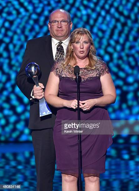Brent Hill and Lisa Hill accept the Best Moment award on behalf of collegiate basketball player Lauren Hill onstage during The 2015 ESPYS at...