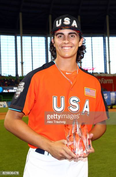 Brent Honeywell of Team USA receives the SirusXM AllStar Futures Game MVP at Marlins Park on Sunday July 9 2017 in Miami Florida