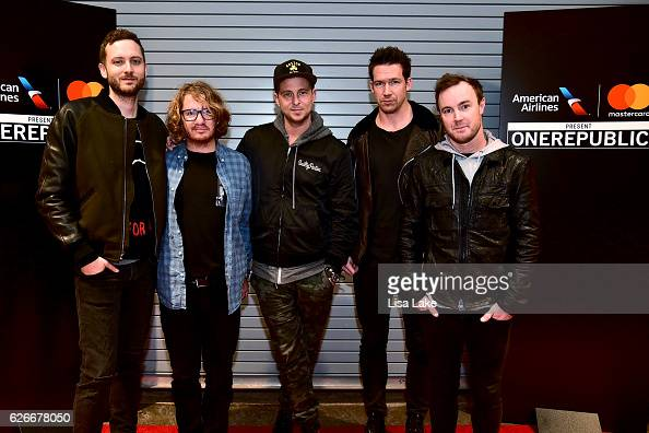 Brent Kutzle Drew Brown Ryan Tedder Zach Filkins and Eddie Fisher of OneRepublic pose backstage during the American Airlines and Mastercard Present...